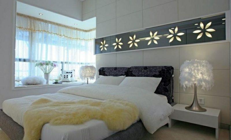 Wand gestalten Schlafzimmer beleuchtete Paneelen