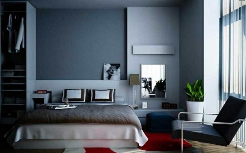 Schlafzimmer Wandfarbe Grau gemütlich