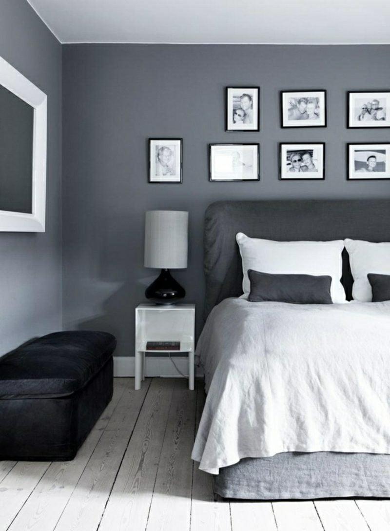 Schlafzimmer Wandfarbe Grau modern Bilder