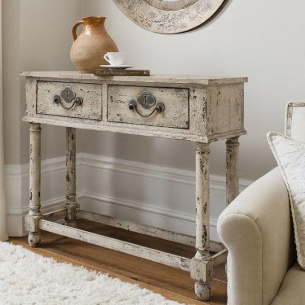 Vintage Möbel selber machen Konsolentisch mit zwei Schubladen Shabby Style