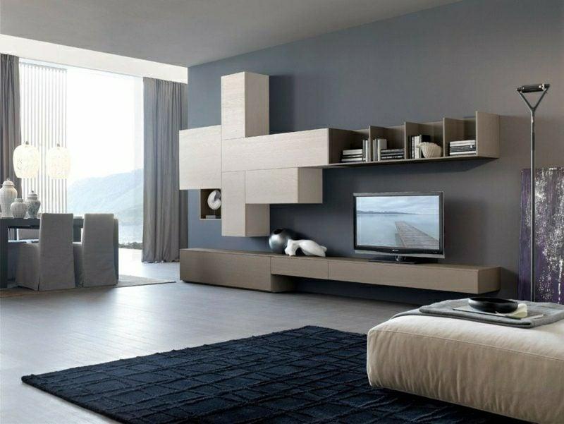 Grautöne Wandgestaltung Wohnzimmer einrichten