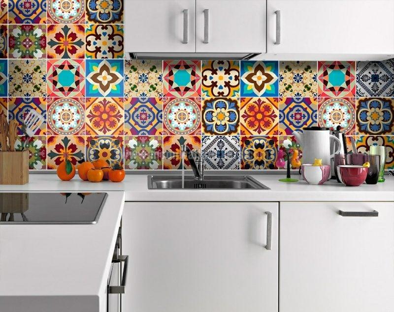 Wandfliesen Küche überkleben herrlicher Look