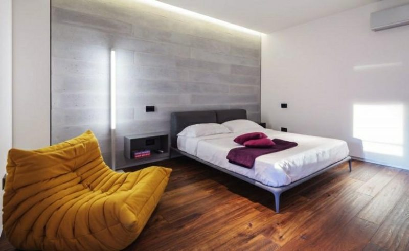 Schlafzimmer Ideen Wandgestaltung Akzentwand Betonoptik