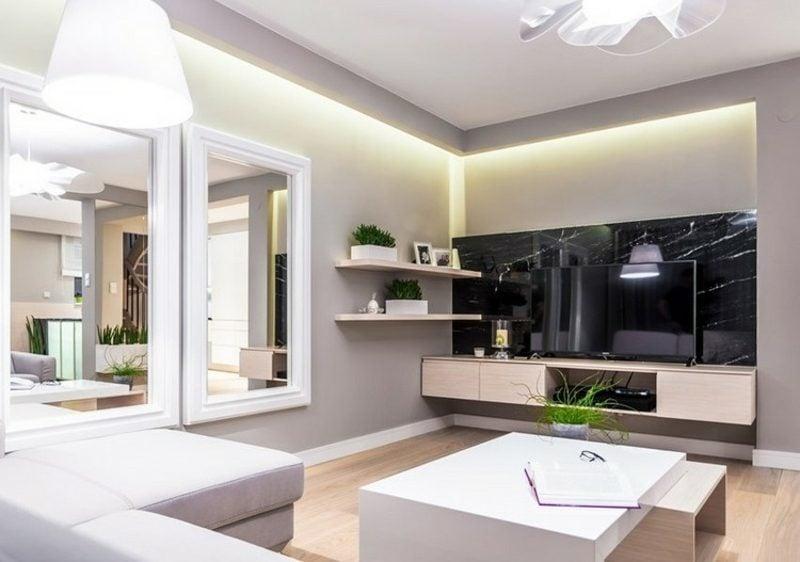 Wohnzimmerwand Gestaltung neutrale Farben