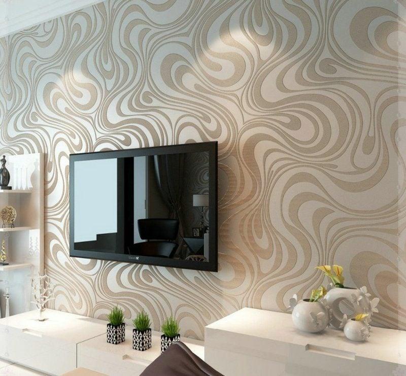Wanddeko Wohnzimmer herrliche Tapete Cappuccino