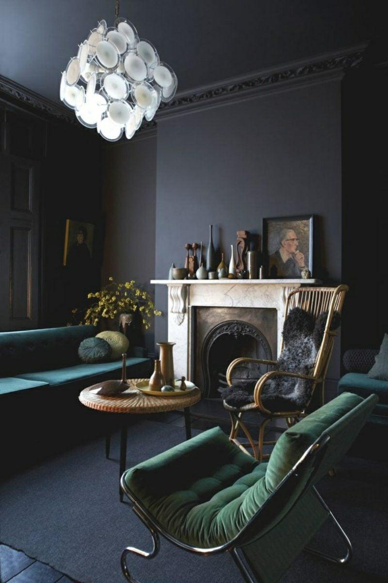 Wandfarben Ideen Dunkelgrau Wohnzimmer