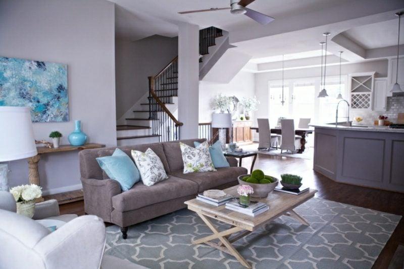 Wandfarbe Grau Wohnzimmer stilvolles Ambiente
