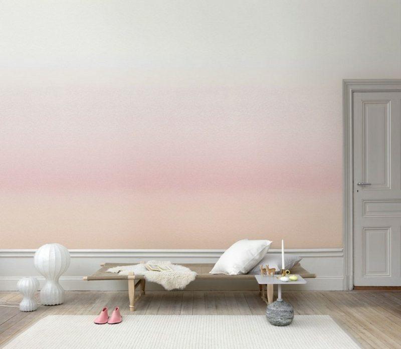 Wanddeko Ideen Wohnzimmer Tapete Mit Farbverlauf