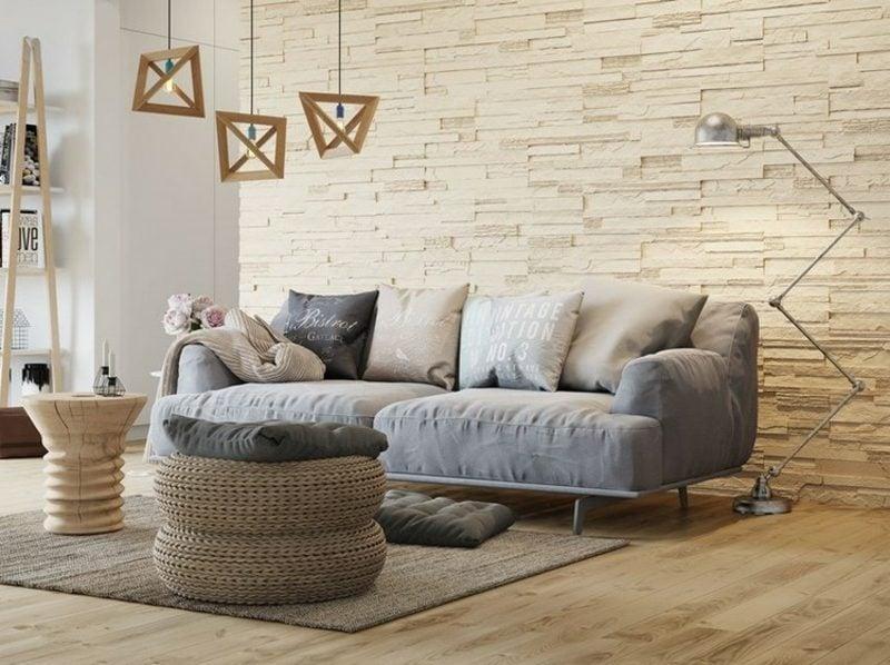 Wohnzimmerwand Steinverkleidung