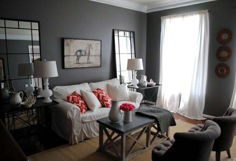 graue Wand Wohnzimmer moderner Look