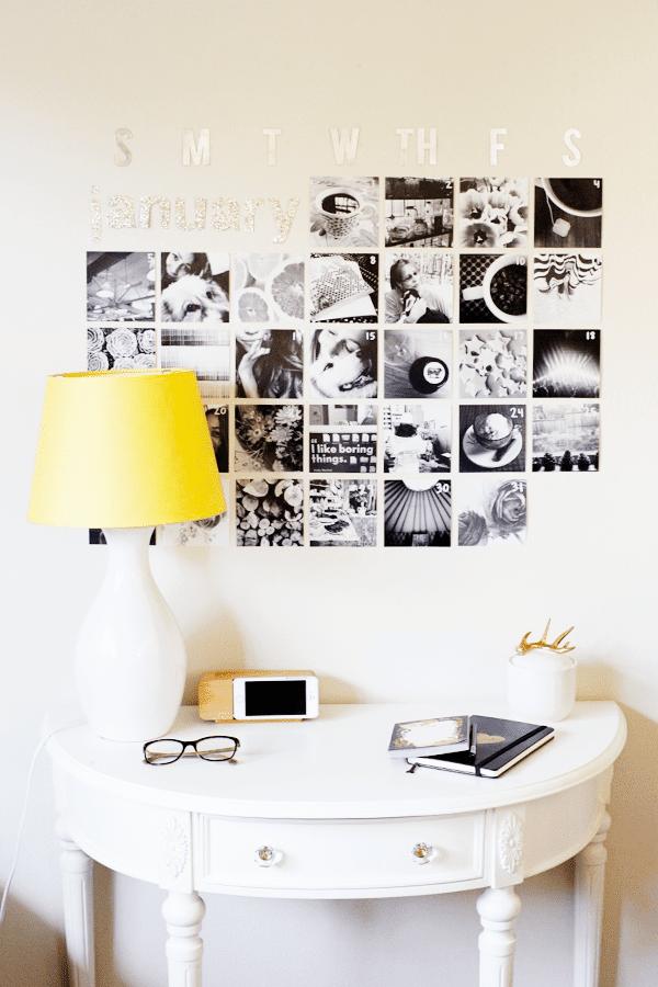 Ideen für Instagram Fotokalender an der Wand