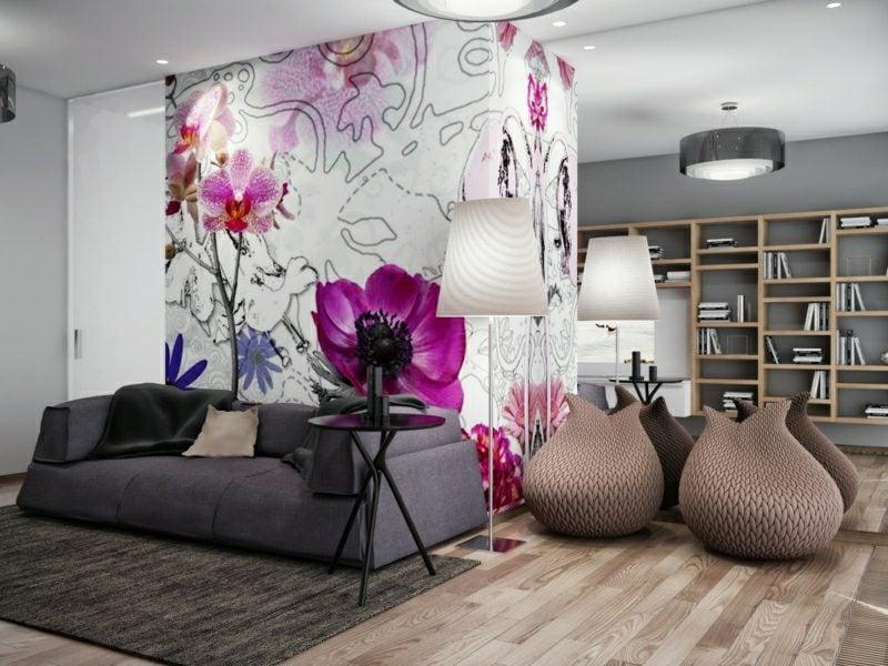 Wandfarben Ideen graue Wand Wohnzimmer