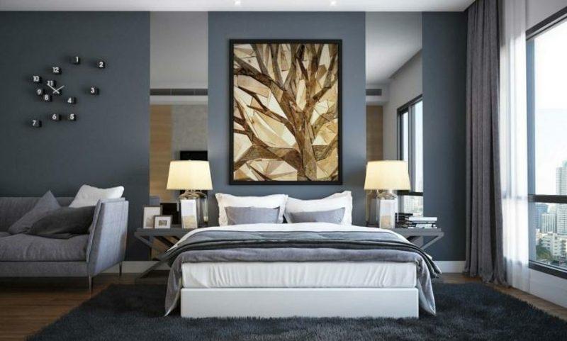 Wandfarben Ideen Grautöne Schlafzimmer stilvoller Look