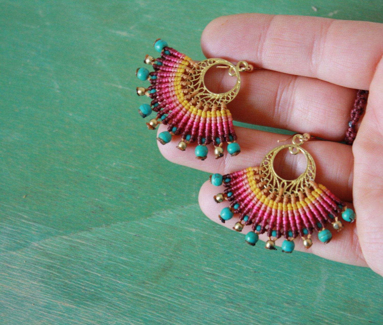 Orientalische Ohrhänger mit mit bunten Perlen