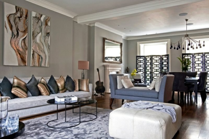 Wohnzimmer Grau mit anderen Farbe kombinieren