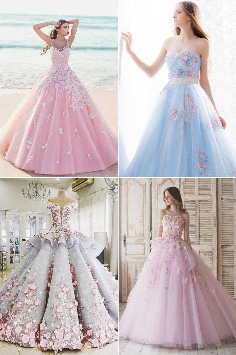 Tolle Idee für ein Brautkleid in Pastellfarben