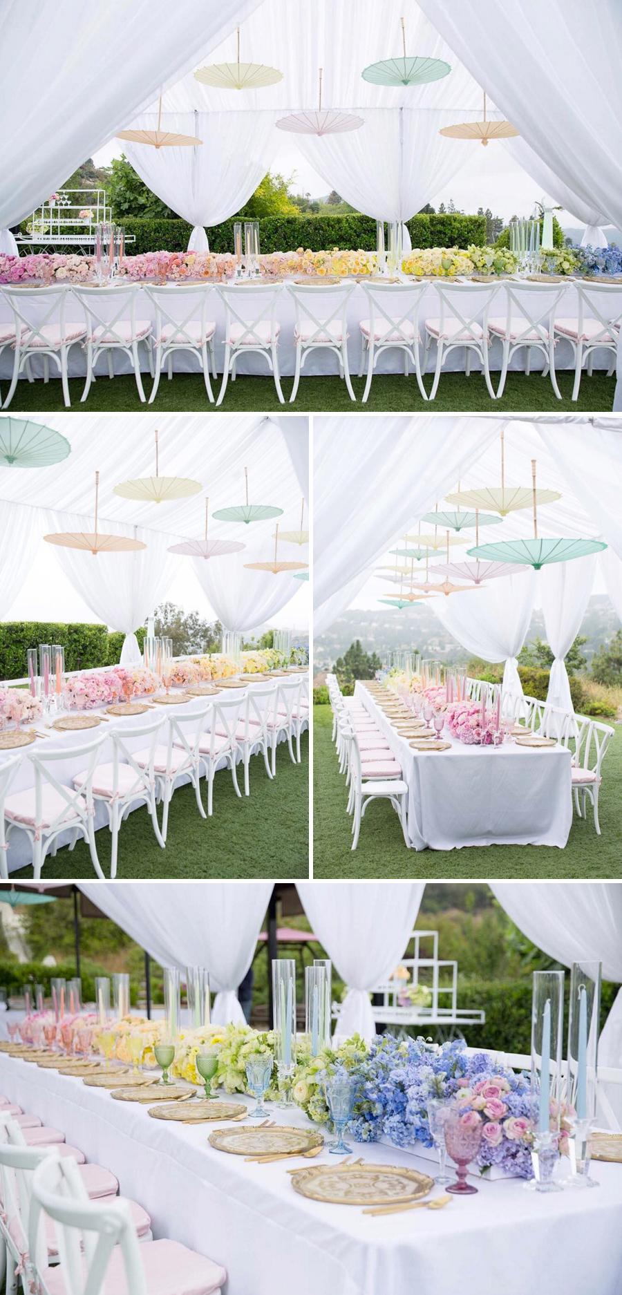 Ein Ombre-Effekt in Pastellfarben - eine kreative und schöne Idee für Ihre Dekoration am Hochzeitstag
