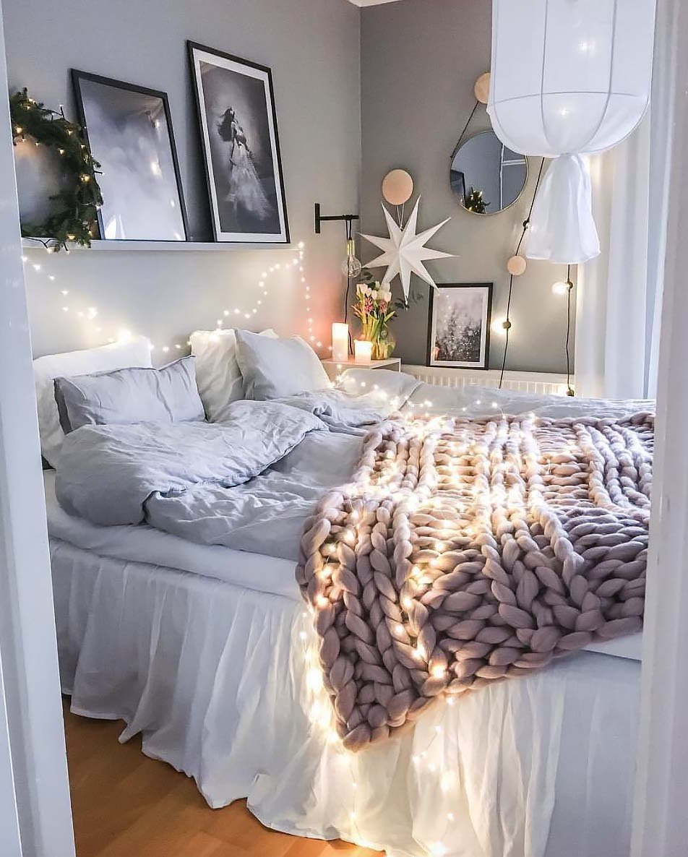 Schlafzimmer modern dekorieren mit gestrickte Decke