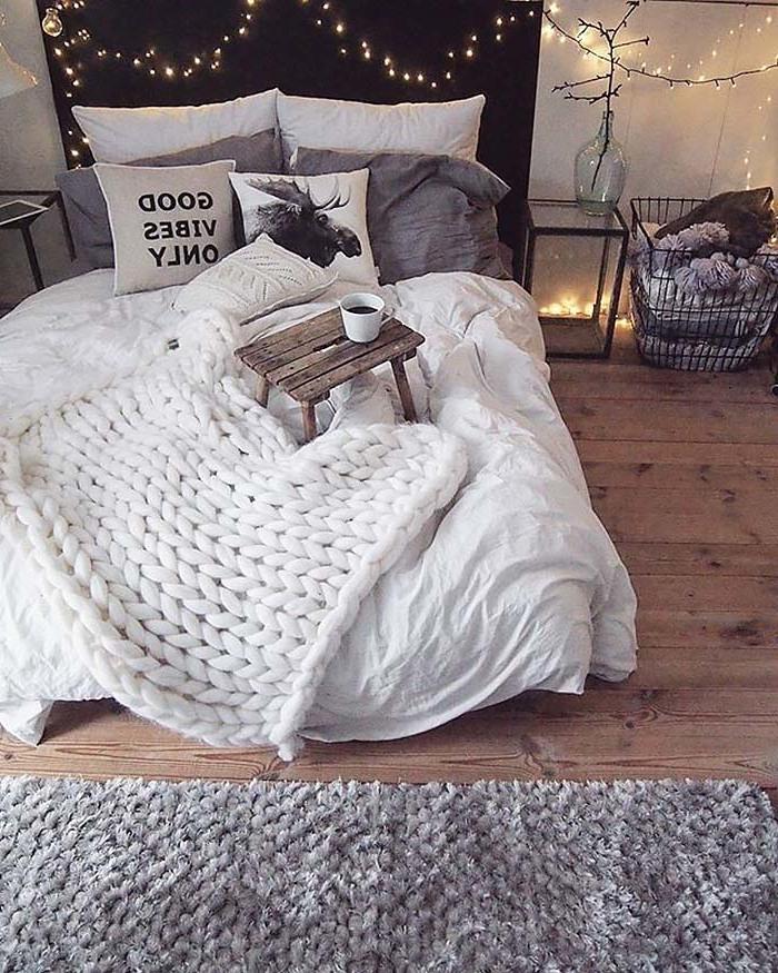 Schlafzimmer Ideen mit gestrickte Decke