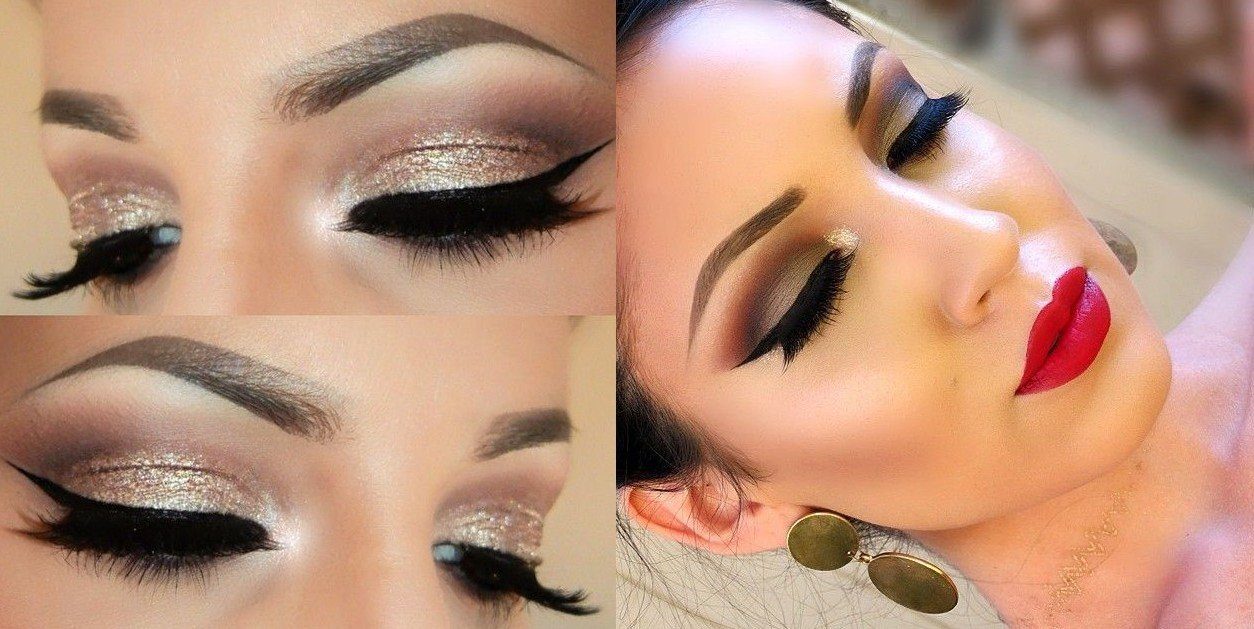 Glitter Make up Ideen für Silvester Party