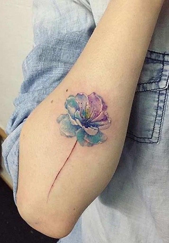 Wasserfarben Tattoo Blumentattoo