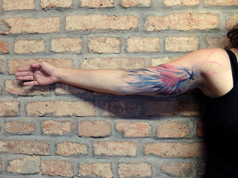 Watercolor Tattoo mit Auarell Farben