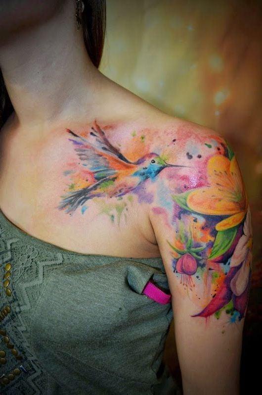 Vögel Tattoo Aquarell