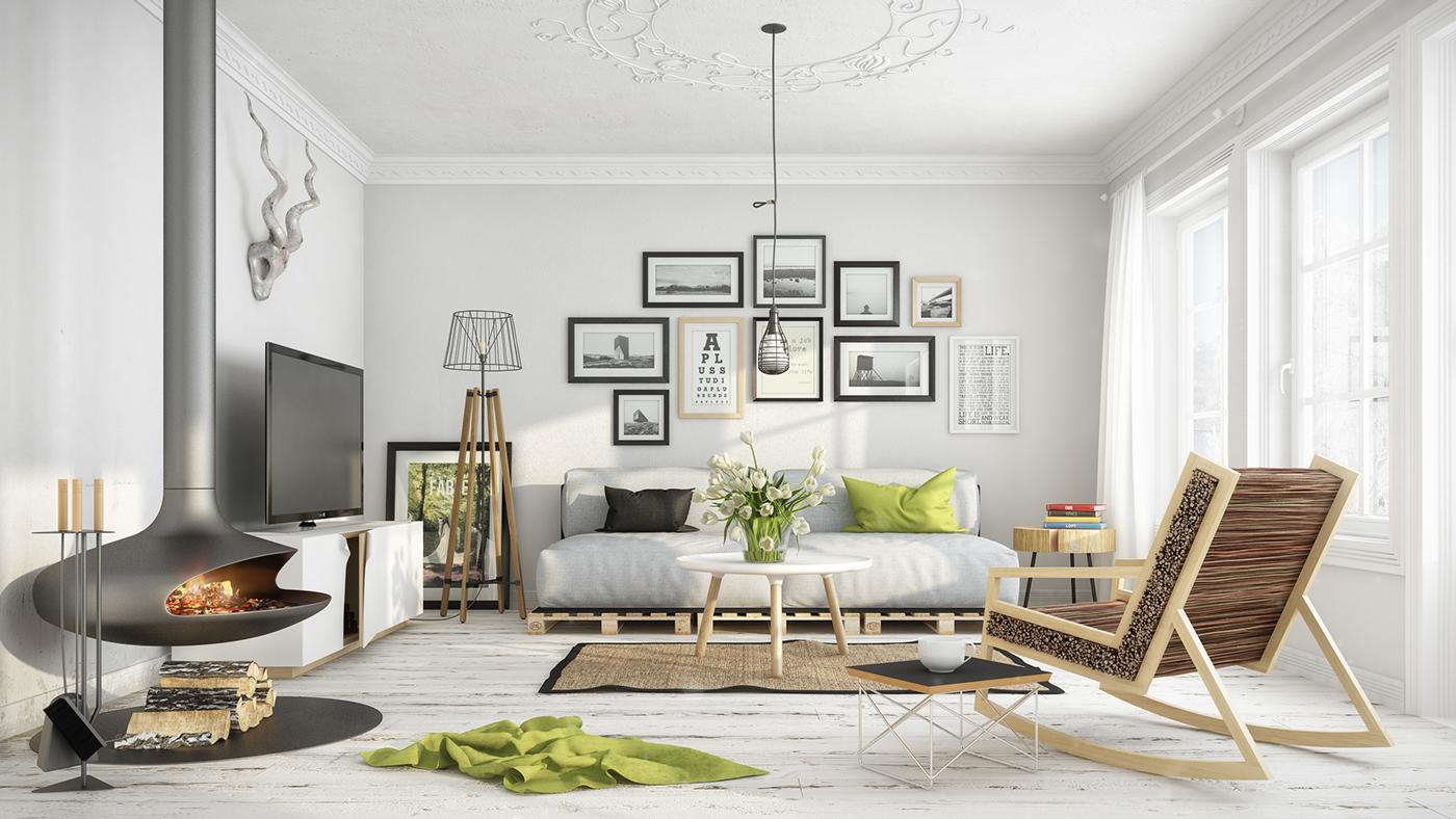 Die moderne Wohnungseinrichtung im Skandinavischen Stil fasziniert Ihnen mit klaren Linien, eleganten Mustern und der Farbkombination in Schwarz-Weiß.