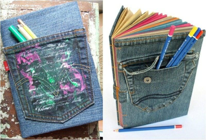 was kann man aus alten Jeans machen Bücherhülle