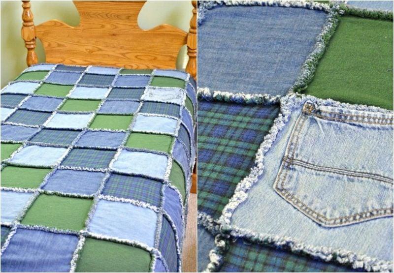 was kann man aus alten Jeans machen Patchwork Bettdecke