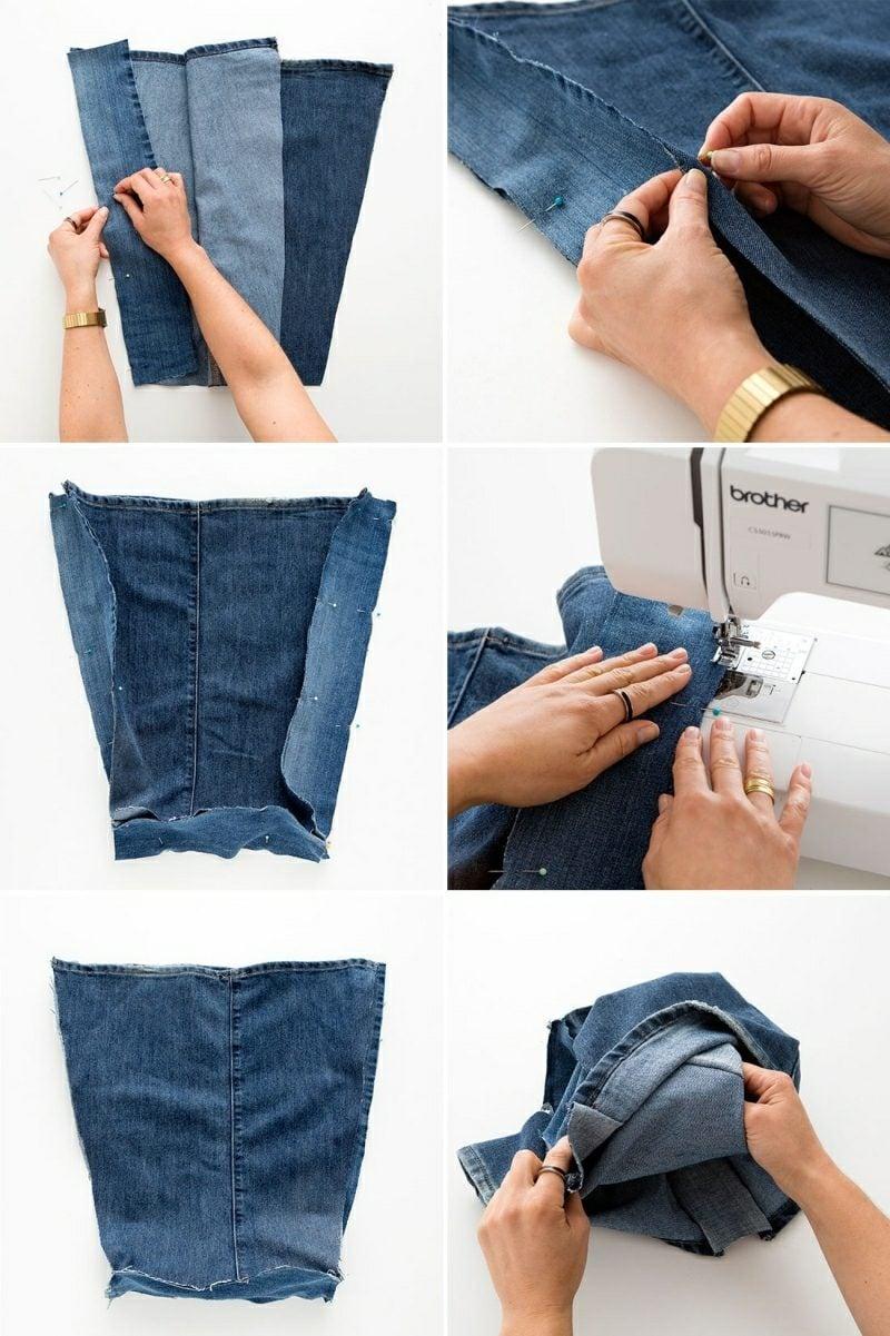 was kann man aus alten Jeans machen Tasche Bilderanleitung