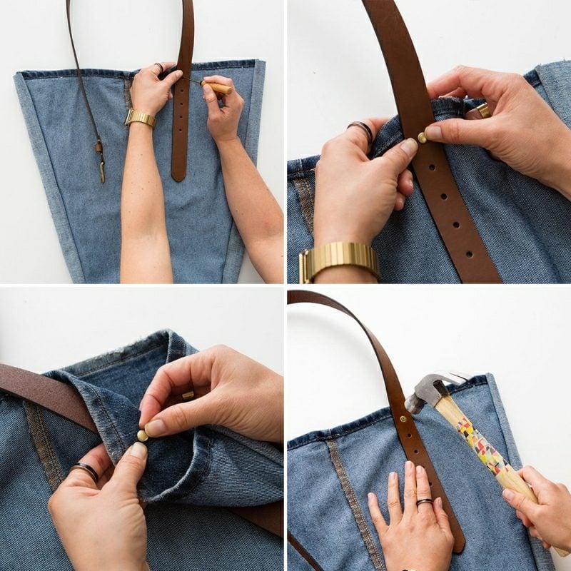 was kann man aus alten Jeans machen Tasche Anleitung in Bildern