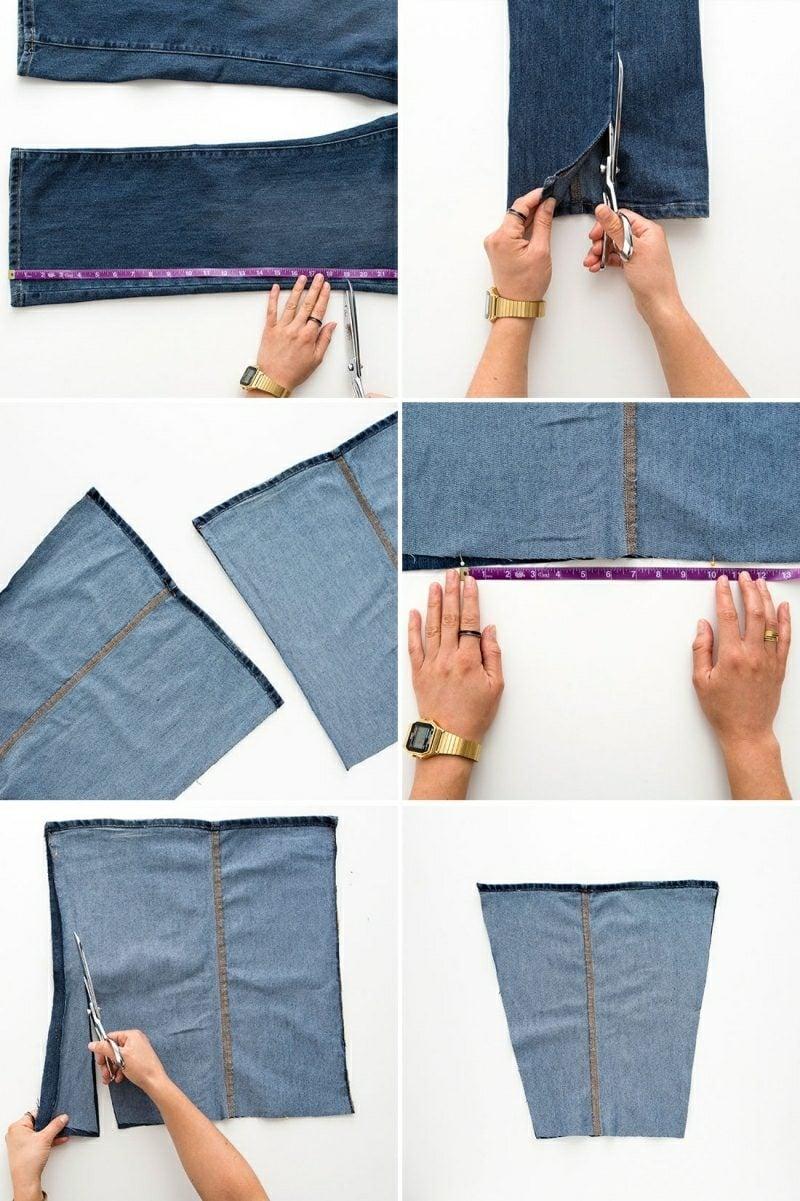 was kann man aus alten Jeans machen Tasche die Seiten schneiden