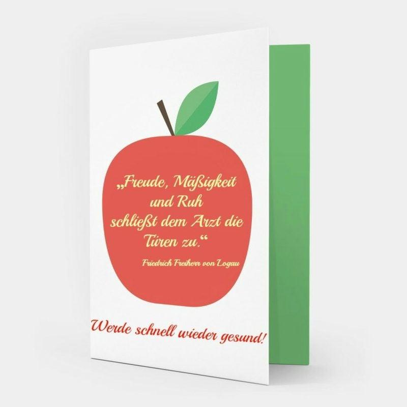 Genesungswünsche originelle Grusskarte Apfel