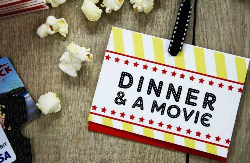 Gutschein basteln Abendessen und Kino