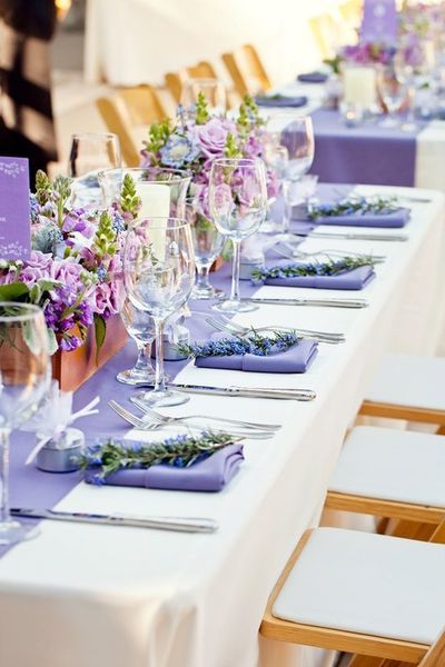 Hochzeitsdeko für Tische-Ein Fest in Lavendelfarben