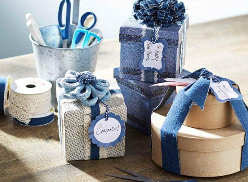 was kann man aus alten Jeans machen Geschenke verpacken