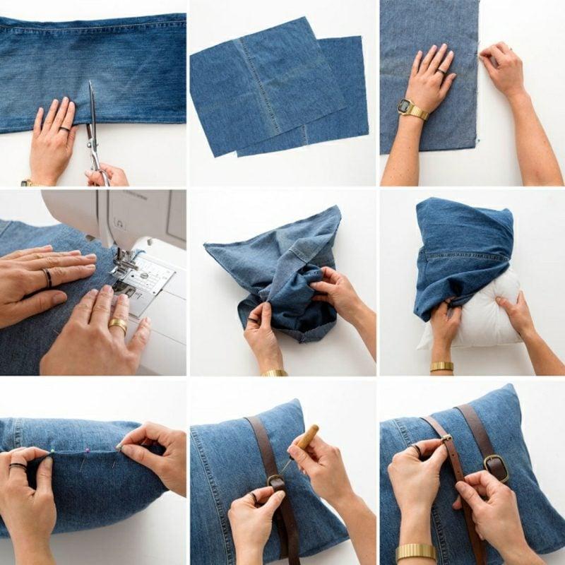 was kann man aus alten Jeans machen Kissenhülle