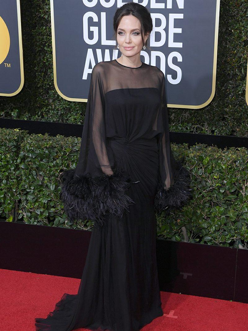 schwarze Kleider mit Feder Angelina Jolie