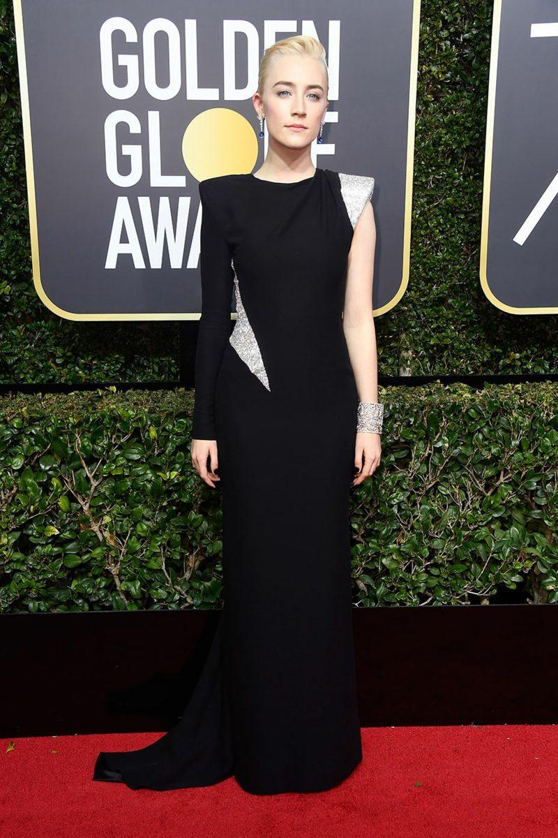schwarze Kleider mit einem Schulter Saoirse Ronan