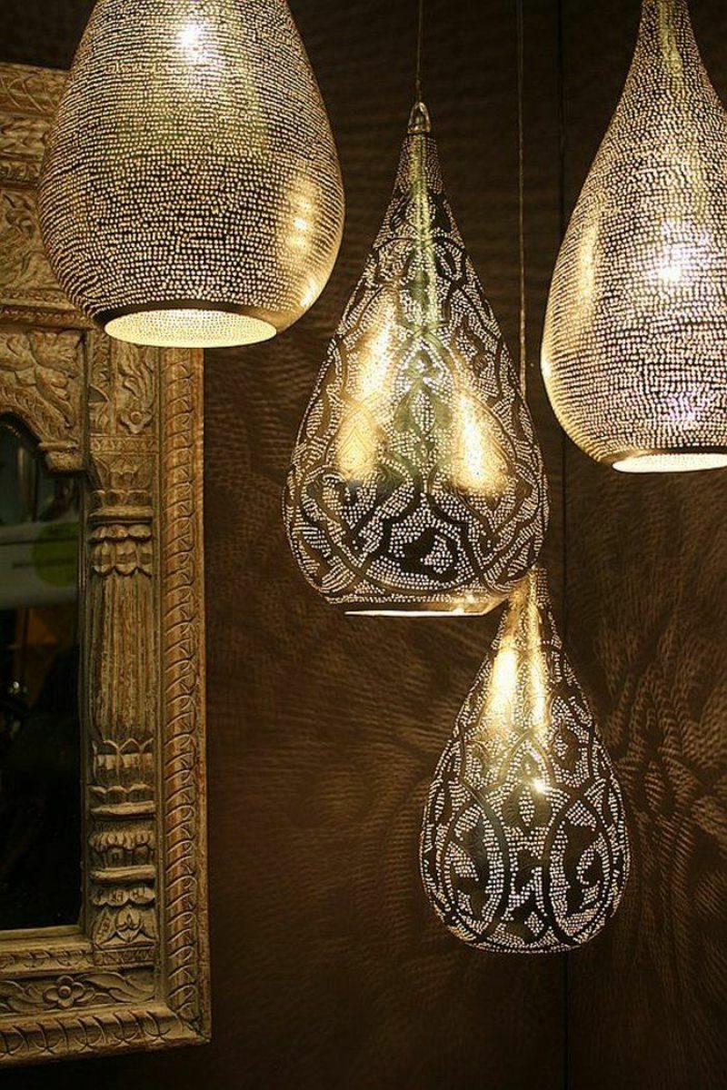 orientalische Lampen aus Metall Filigranmuster