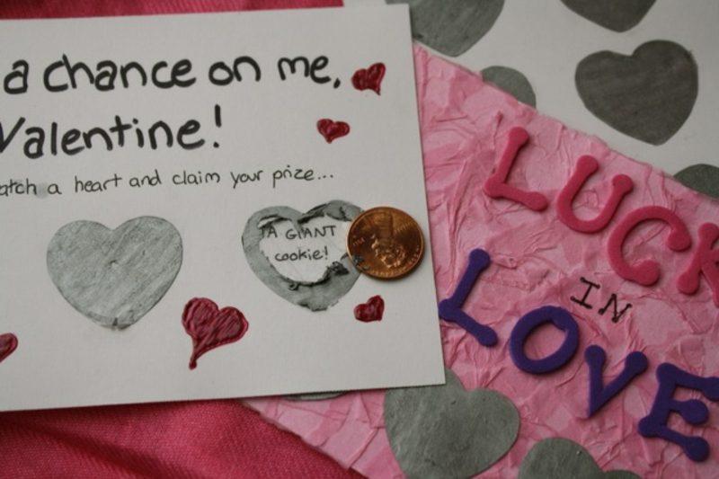 Valentinstag Geschenke selber machen Rubbelkarte Lotterie zum Valentinstag