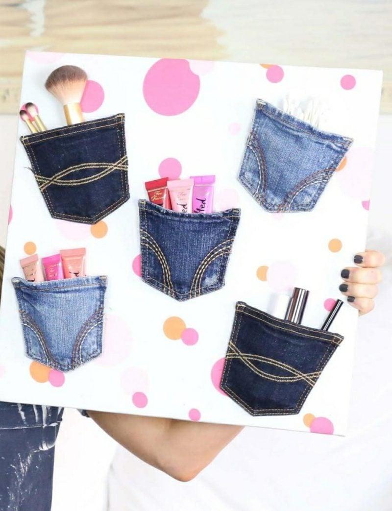 was kann man aus alten Jeans machen Make up Aufbewahrung