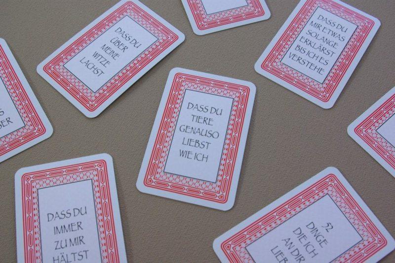 Valentinstag Geschenke selber machen romantische Spielkarten