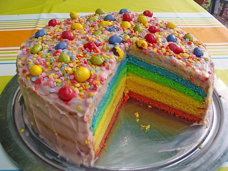 Geburtstagskuchen bunt Regenbogenfarben Kindergeburtstag