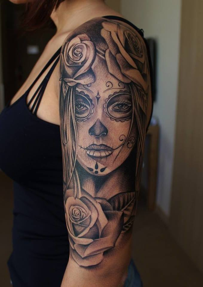 Sugar Skull Half Sleeve Tattoo Designs