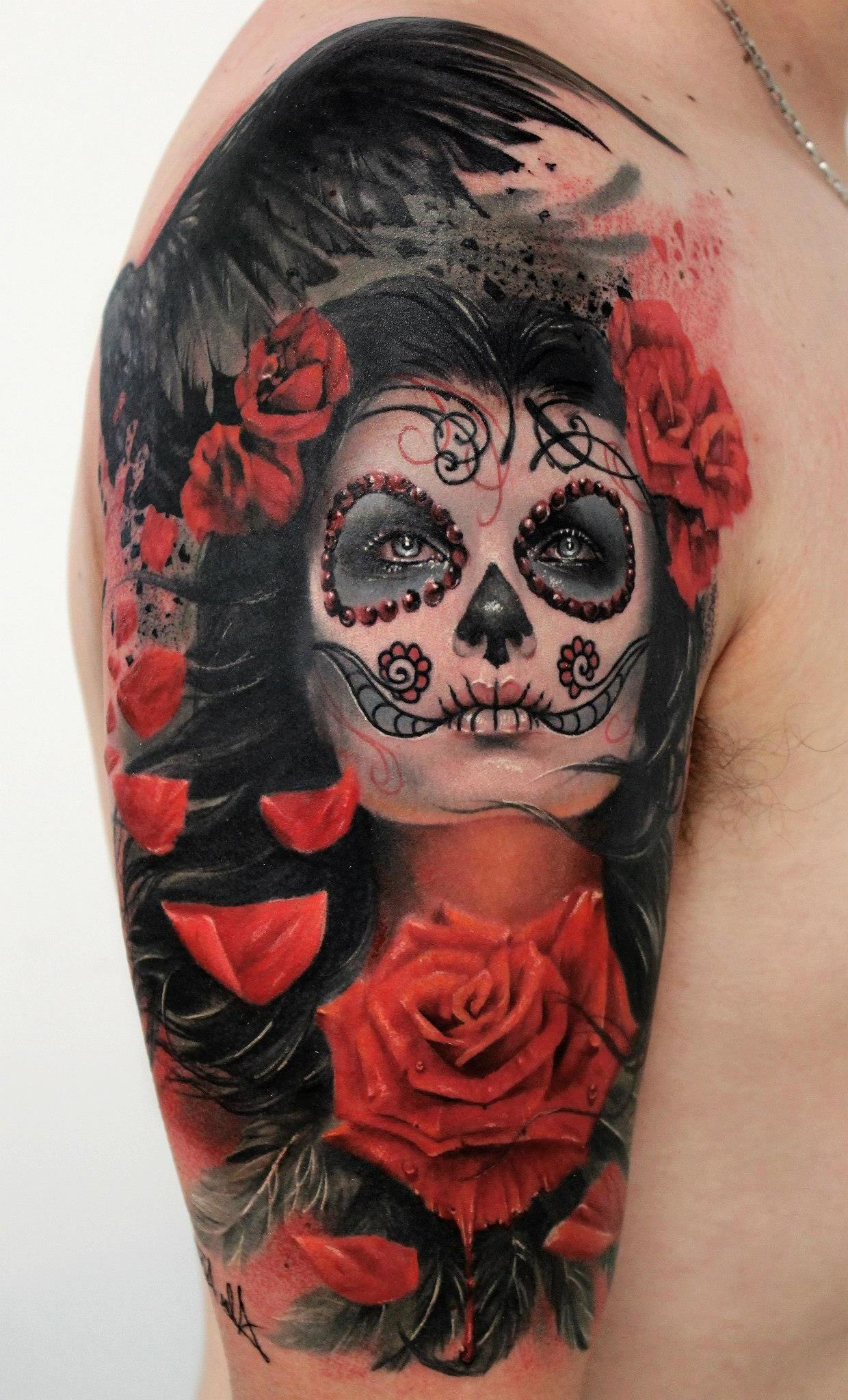 La Catrina in farbenfrohem Tattoo Design