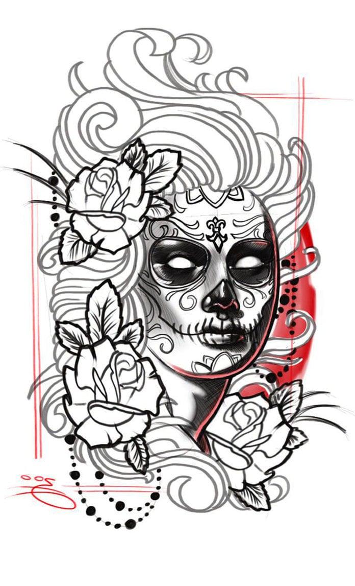 La Catrina Tattoo Vorlage