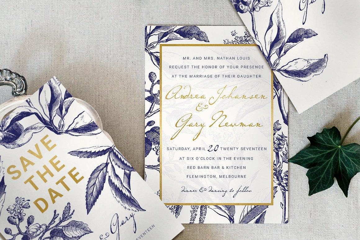 Schöne Schrift - Hochzeitseinladung mit Kombination von handschriftlicher Schriftart und Buchdruck