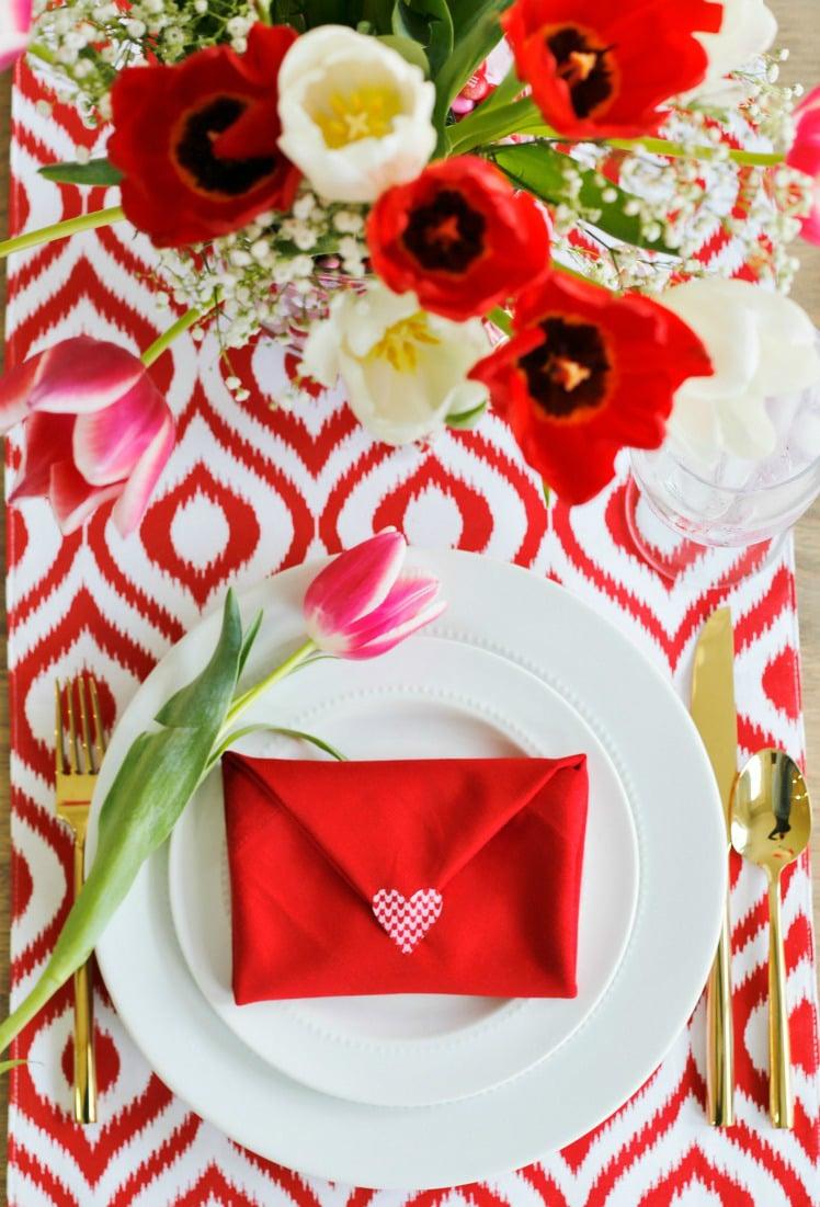 Tulpen Tischdeko Valentinstag Dekoration
